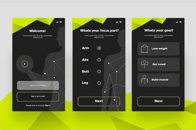 ワークアウトトラッカーアプリの画面 無料ベクター