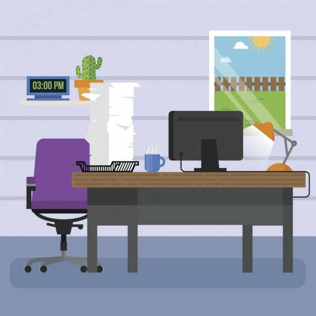 Workplace Background Design Vector Free Download