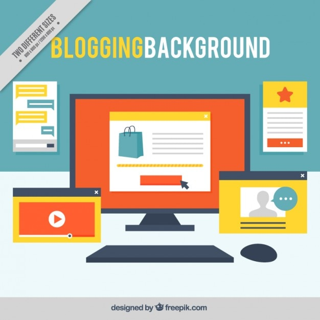 Workplace of a blogger background with screenshots Free Vector