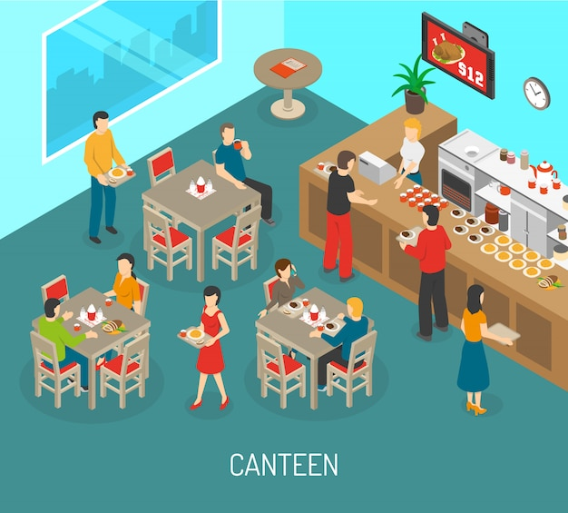 Workplace canteen lunch isometric poster illustration Free Vector