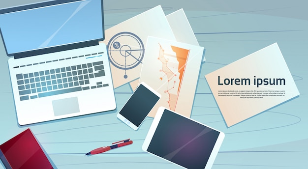 Workplace desk laptop finance documents papers office stuff top angle view Premium Vector