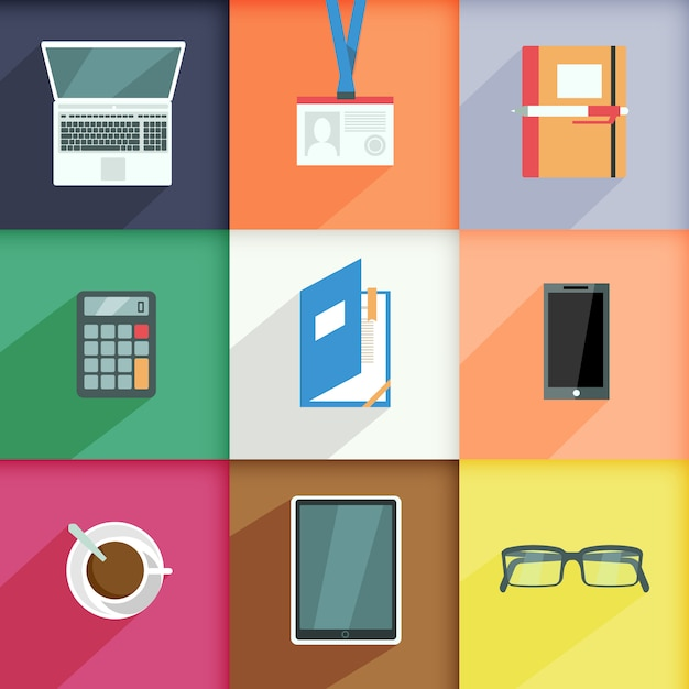 Workplace elements set with computer pass notebook calculator isolated vector illustration Free Vector