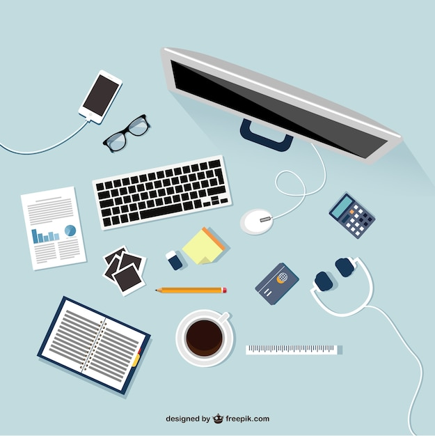 Workplace in flat design Free Vector