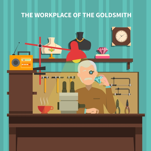 Workplace of goldsmith illustration Free Vector