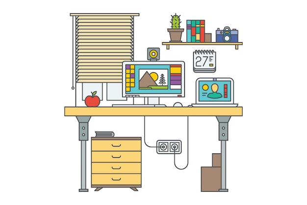 Workplace. home office vector illustration. desk with 2 computers. closed window. bookshelf. drawer. laptop. red apple. Premium Vector