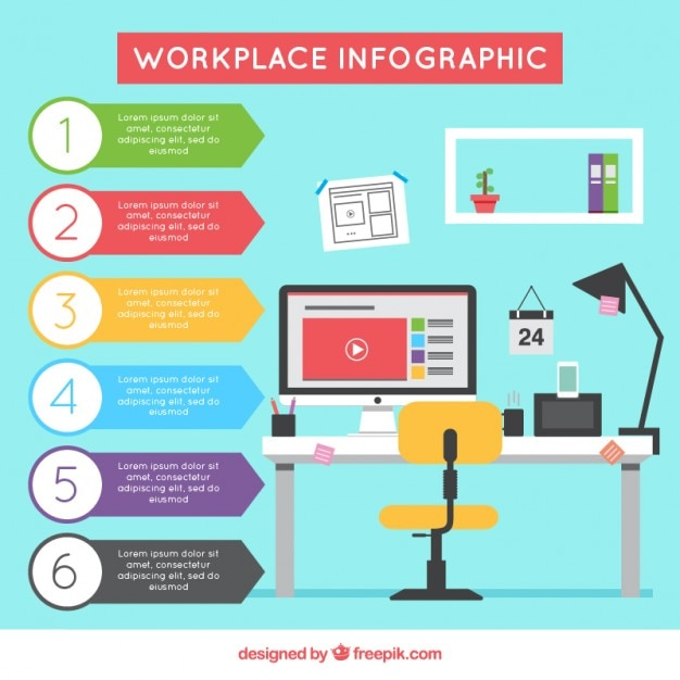 Workplace infographic Free Vector