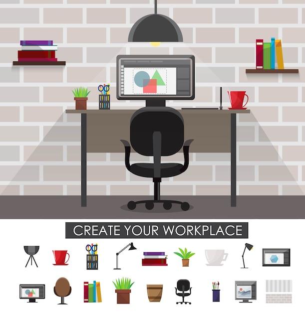 Концепция интерьера на рабочем месте с дизайном комнаты и набором приборов и аксессуаров изолированных векторные иллюстрации Бесплатные векторы