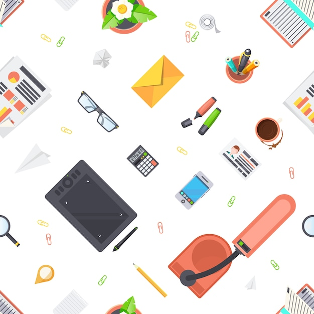 Workplace objects seamless pattern Free Vector
