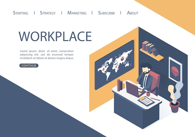 The the workplace in the office. Premium Vector