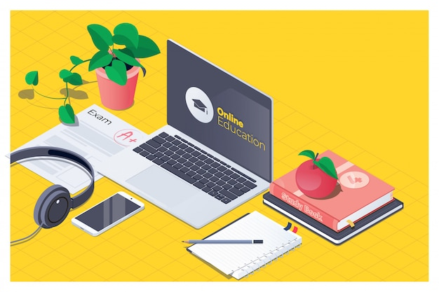 Workplace for online education Premium Vector