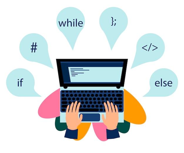 Workplace of programming Premium Vector