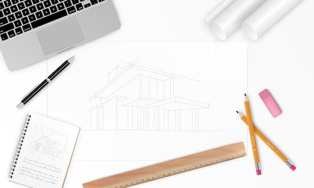 직장-도구, 노트북 및 노트북 현실적인 건설 프로젝트 건축가 집 계획. 건설 배경. 삽화 프리미엄 벡터