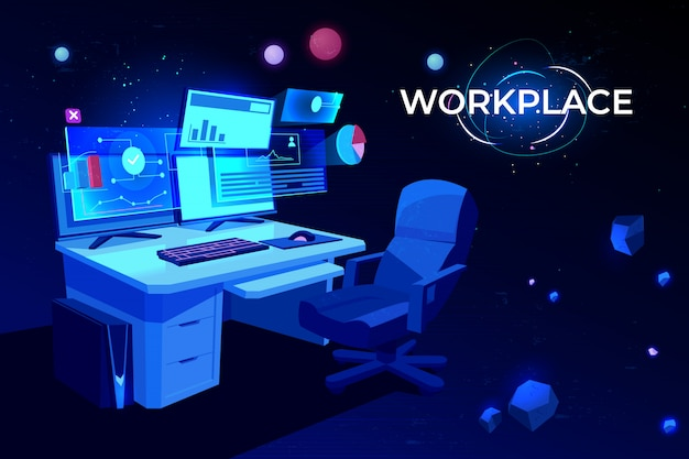 Workplace with computer table Free Vector