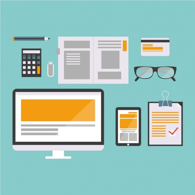 Workplace with different items in flat style Free Vector