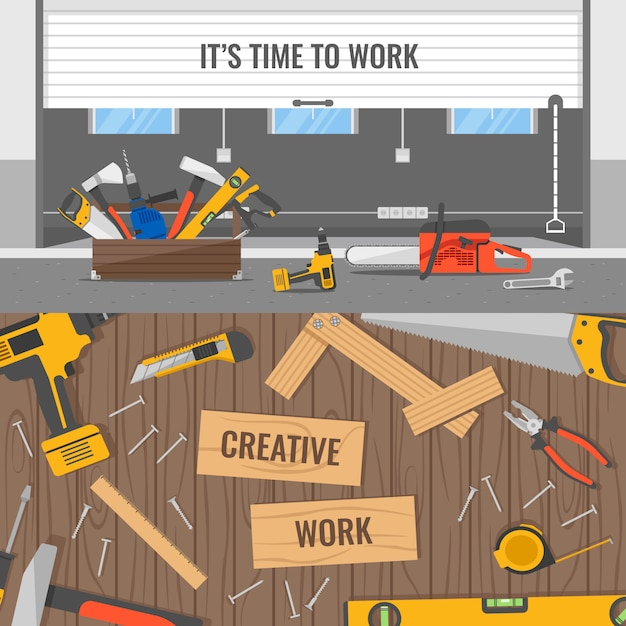 Workplaces and tools compositions with office or warehouse space and wooden table for carpenter isolated Free Vector