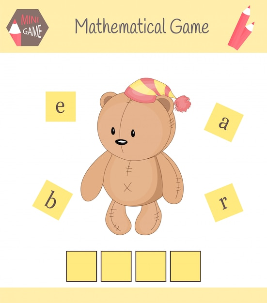 Worksheet for preschool kids. place the letters in right order Premium Vector