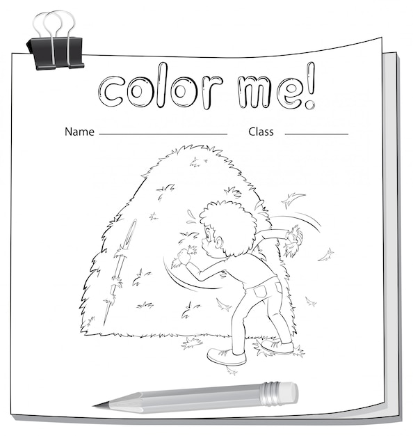 A worksheet showing a boy and a haystack Free Vector