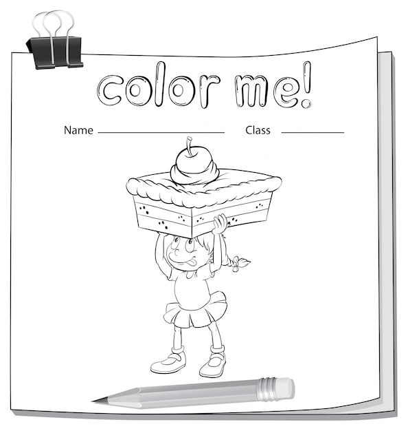 A worksheet showing a girl carrying a cake Free Vector
