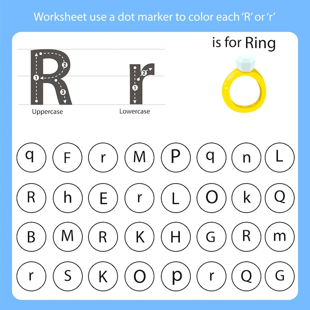 Worksheet use a dot marker to color each r Vector | Premium
