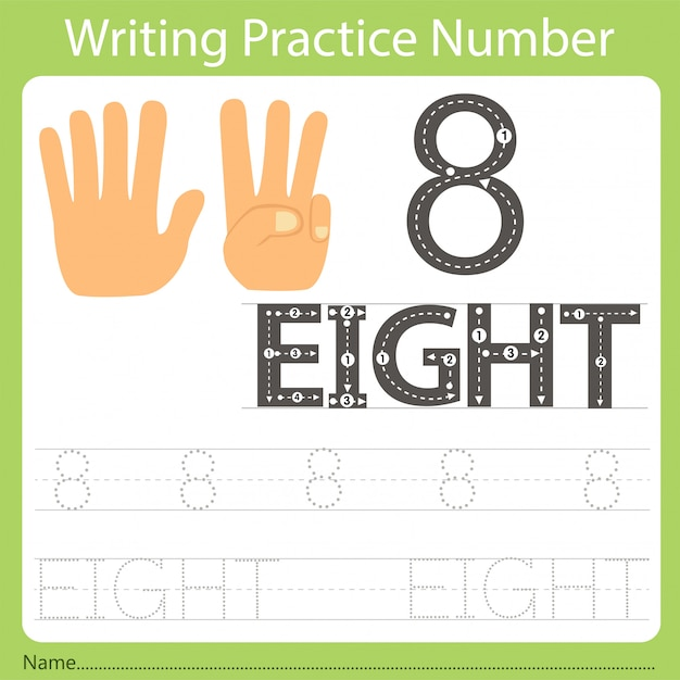 Worksheet writing practice number eight Premium Vector