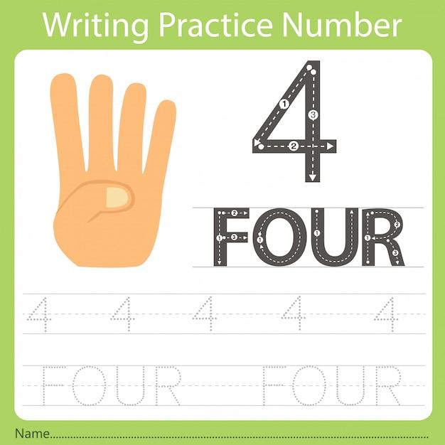 Worksheet writing practice number four Premium Vector