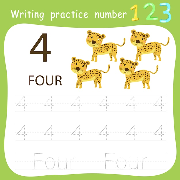 Worksheet writing practice number four Premium Vector