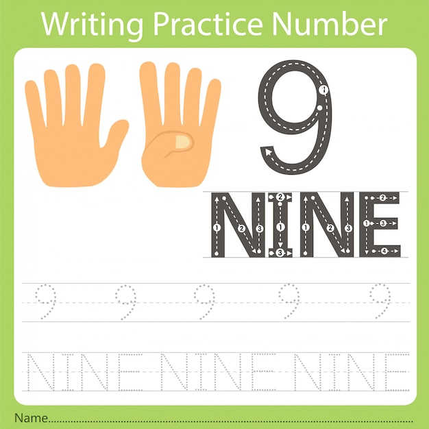 Worksheet writing practice number nine Premium Vector
