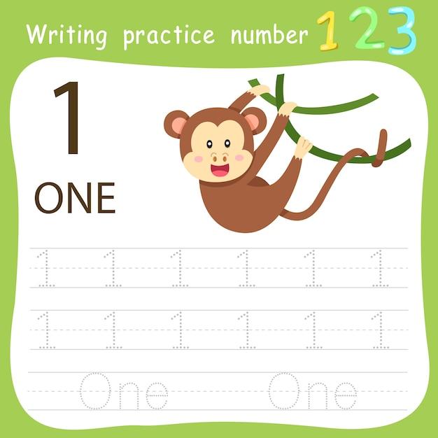 Worksheet writing practice number one Premium Vector