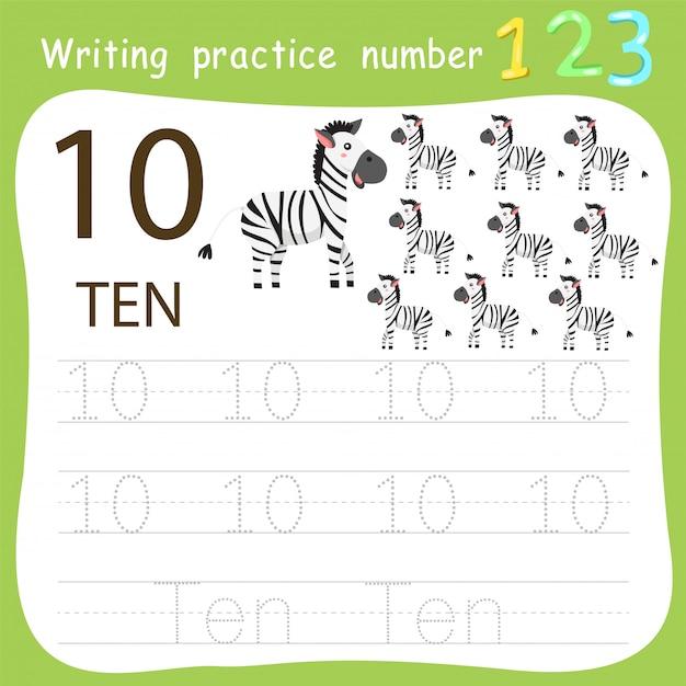 Worksheet writing practice number ten Premium Vector