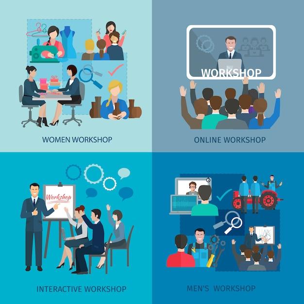 Workshop design concept set with women men online interactive teamwork flat icons Free Vector