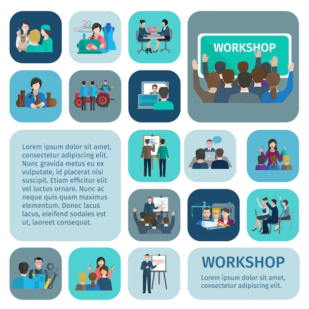 Workshop flat icons set with businessmen and workers teamwork symbols isolated vector illustration Free Vector