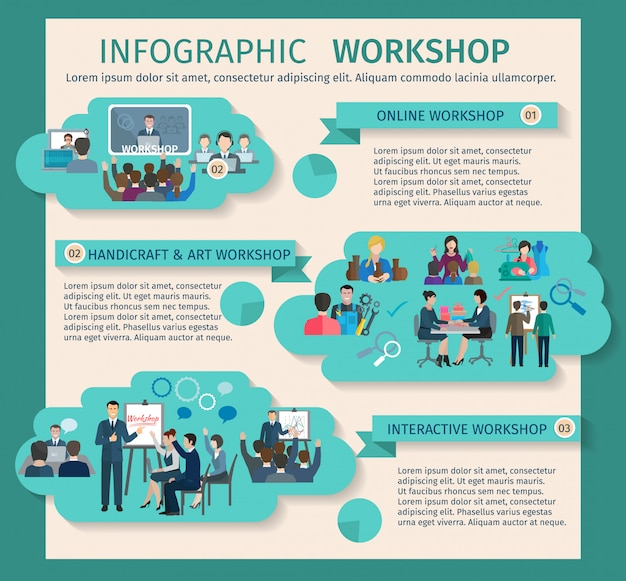 Workshop infographics set with art business and handicraft elements Free Vector