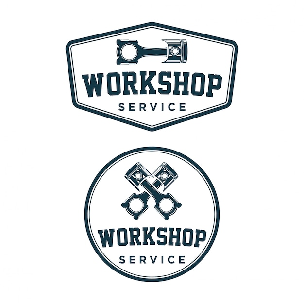 Workshop logo vintage Premium Vector