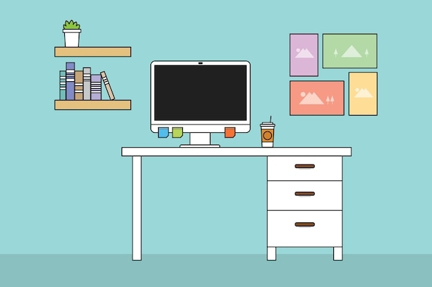 Workspac computer with table and desk and minimalist smooth color Premium Vector