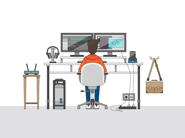 Workspace of a audio engineer or a music producer Free Vector