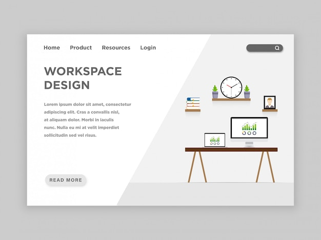 Workspace design landing page template Premium Vector