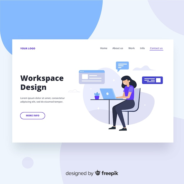 Workspace design landing page Free Vector