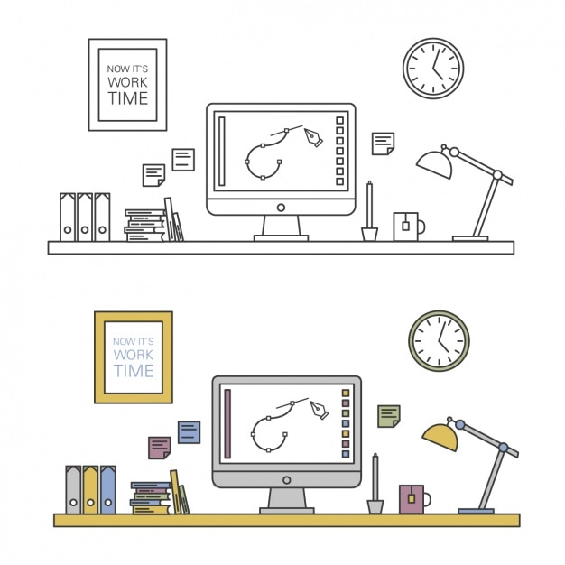 Workspace design Free Vector