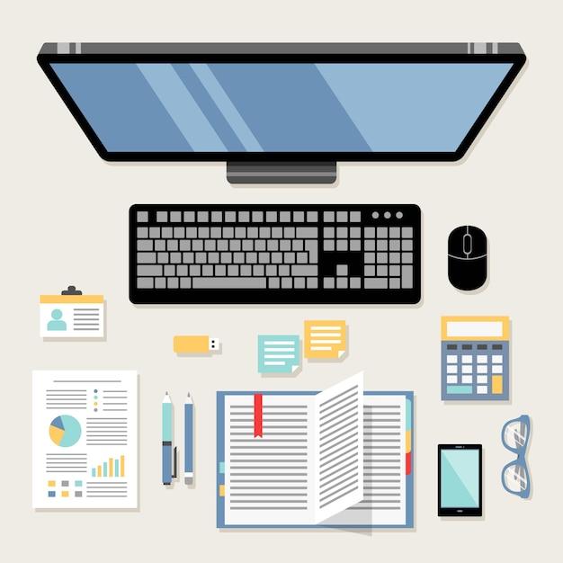 Workspace design Free Vector