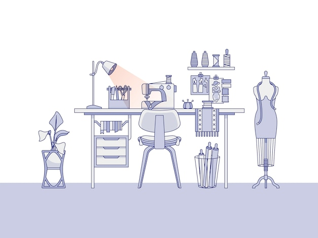 Workspace of a fashion designer, or a tailor Free Vector