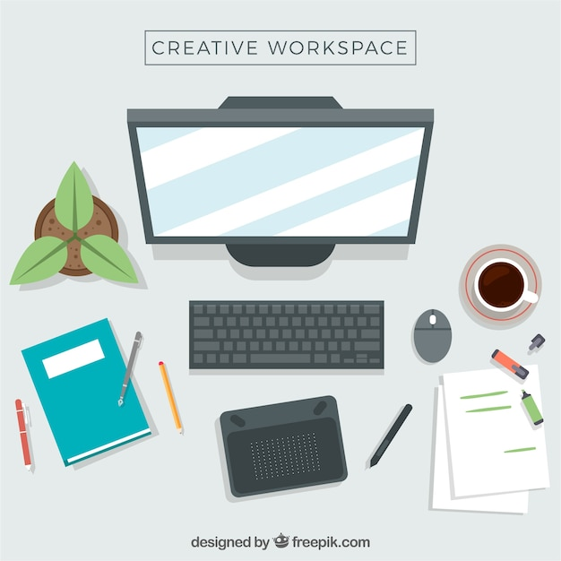 Workspace of graphic designer Free Vector