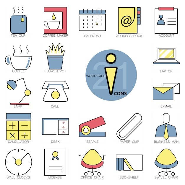 Workspace icons collection Free Vector