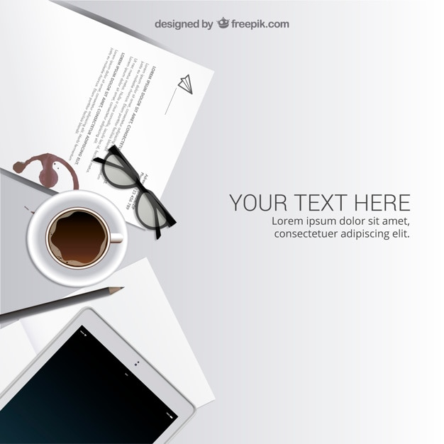 Workspace in top view Free Vector