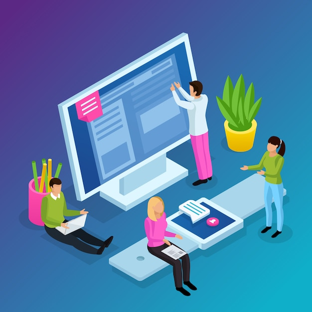 Workspace interfaces isometric composition Free Vector