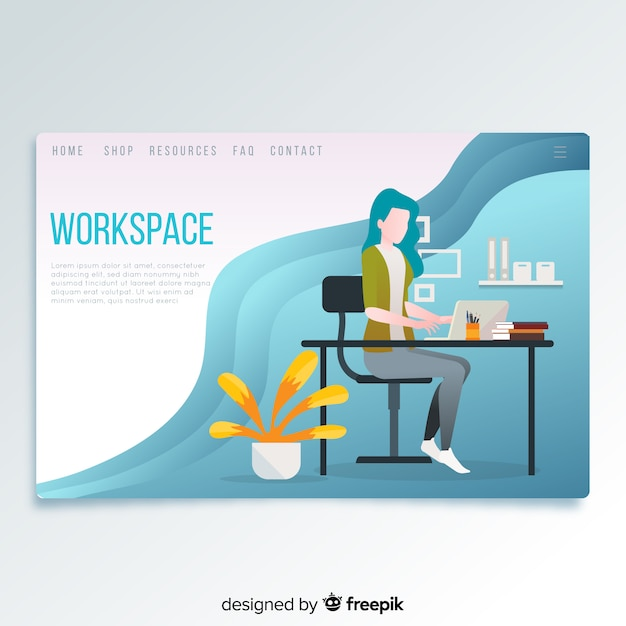 Workspace landing page Free Vector