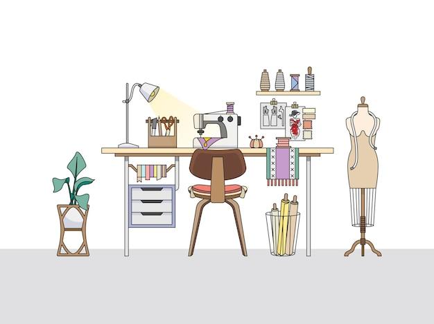 ファッションデザイナーのワークスペース、またはテーラー 無料ベクター