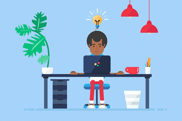 Workspace of professional working afro-american developer, programmer, system administrator or designer with desk, chair, notebook. Premium Vector