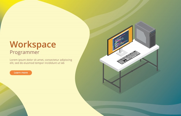 Workspace programmer or developer with coding on screen Premium Vector