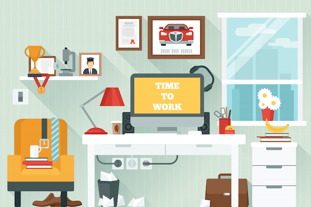 Workspace in room Free Vector
