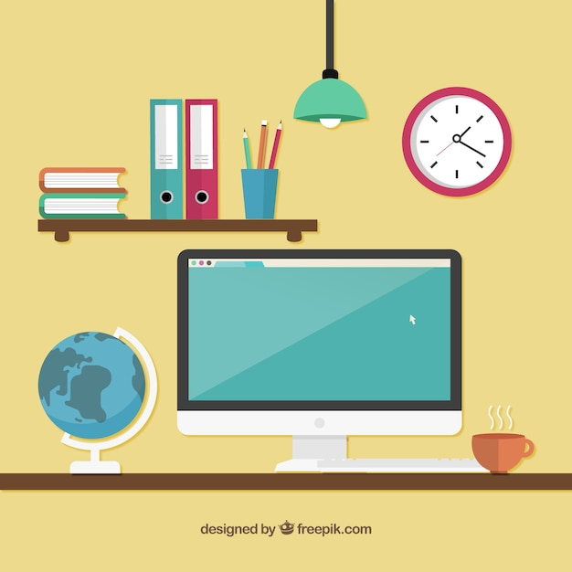 Workspace with a computer Free Vector